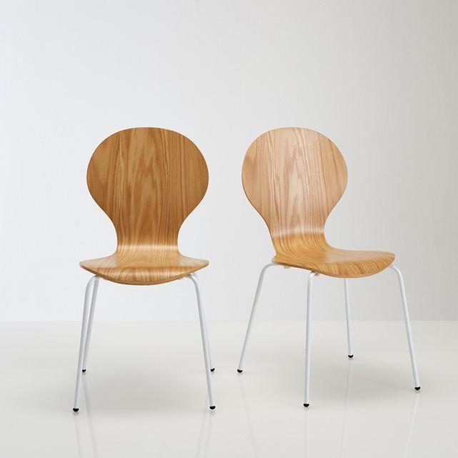 Lot de chaises plaquées chêne, JIMI LA REDOUTE : prix, avis & notation, livraison. Caractéristiques des chaises : Lot de 2 chaises empilables plaquées chêne.Coque en multiplis d'hévéa cintrée et replaquée chêne, vernis polyuréthane.Pieds en tube d'acier laqué, finition époxy.Patins plastiques. Dimensions des chaises :Totales :Longueur : 55 cmHauteur : 86 cmLargeur : 46,5 cm...