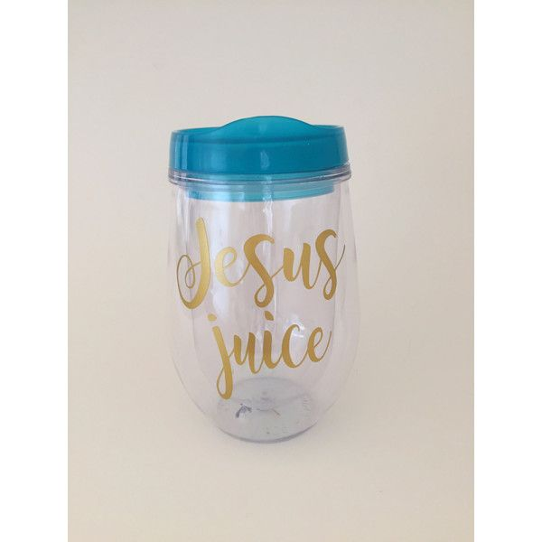 Jesus Juice Wine Glass Tumbler bev2go Wine Tumbler Gift ($10) ❤ liked on Polyvore featuring home, kitchen & dining, drinkware, drink & barware, home & living, silver, colored wine glasses, wine glass, juice tumblers and vino2go wine glasses