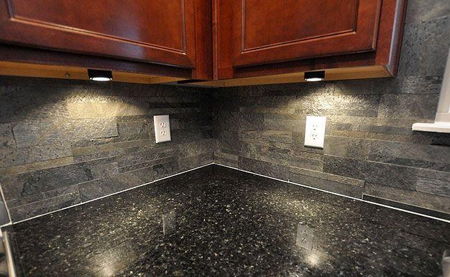 Black Countertop Slate Brick Backsplash For The Home Pinterest Countertop And Slate
