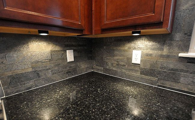 Black Countertop Slate Brick Backsplash For The Home