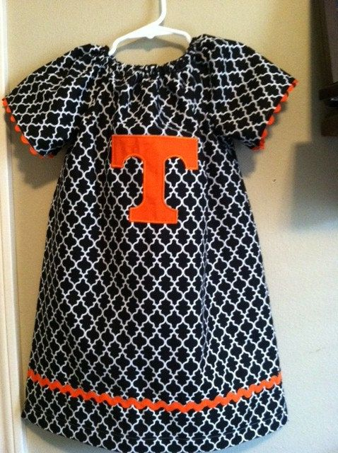 New for football season!  Tennessee Vols  inspired appliqued dress in by Meemeescorner, $35.00