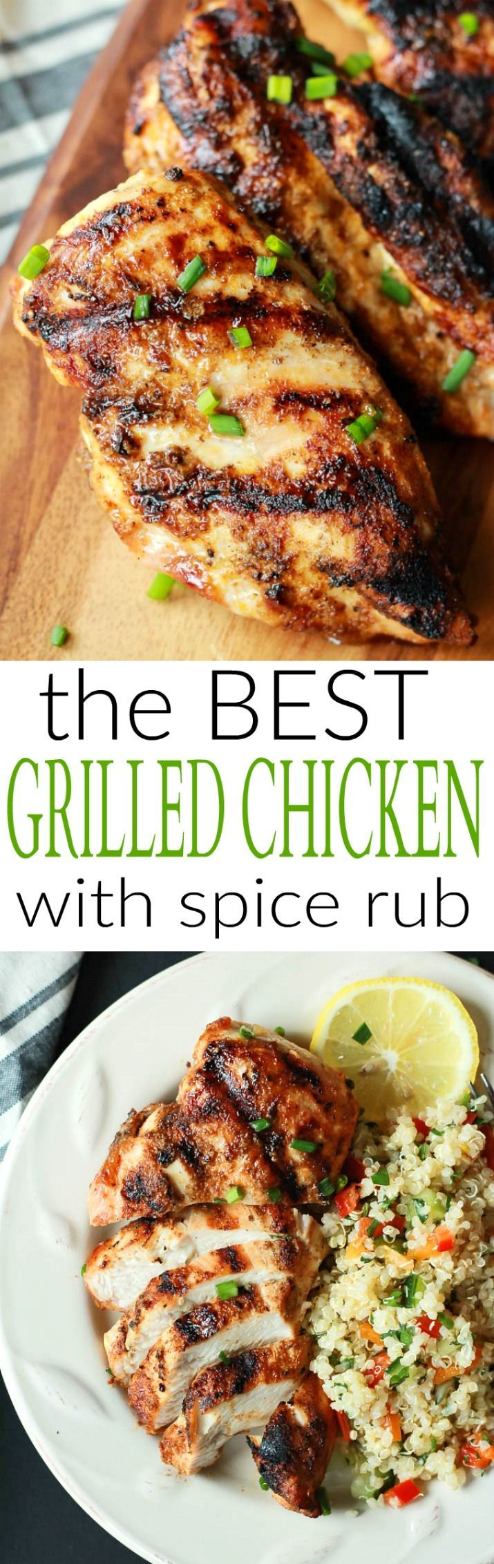The BEST Grilled Chicken Recipe you will ever have! Full of flavor from an easy spice rub, moist, and done in less than 20 minutes!