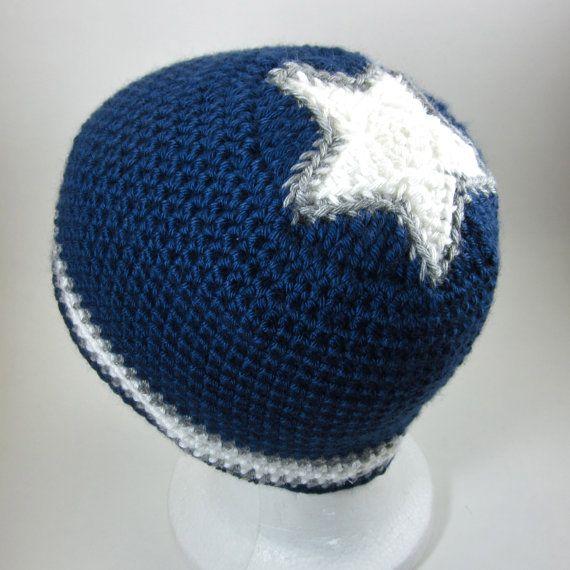 Star Beanie   crocheted beanie  Navy Blue with White by mairwear, $17.00