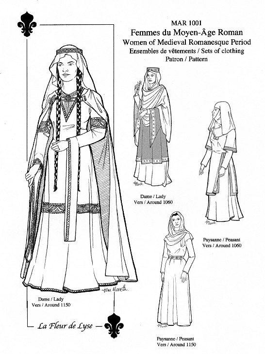 """MAR1001 – """"Romanesque"""" Period Women's Sets / 1060 or 1150 / Habillements de femmes du Moyen Âge """"roman"""""""