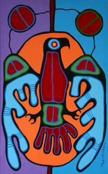 "Norval Morrisseau, CM (March 14, 1932 – December 4, 2007),[1] also known as Copper Thunderbird, was an Aboriginal Canadian artist. Known as the ""Picasso of the North"", Morrisseau created works depicting the legends of his people, the cultural and political tensions between native Canadian and European traditions, his existential struggles, and his deep spirituality and mysticism"