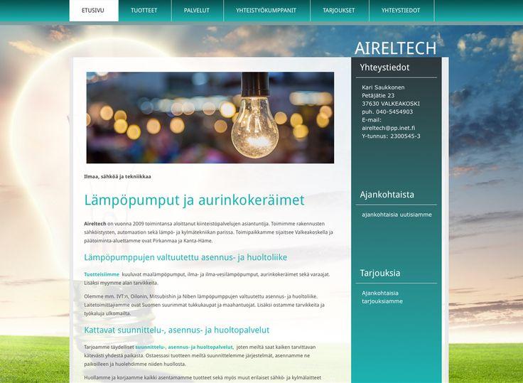 Aireltech sai uudet kotisivut Kotisivukoneen Avaimet käteen -palvelun avulla.