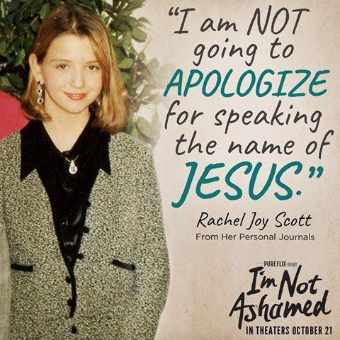 I'm Not Ashamed, the true story of Rachel Joy Scott, comes out on DVD on Jan 24, 2017!