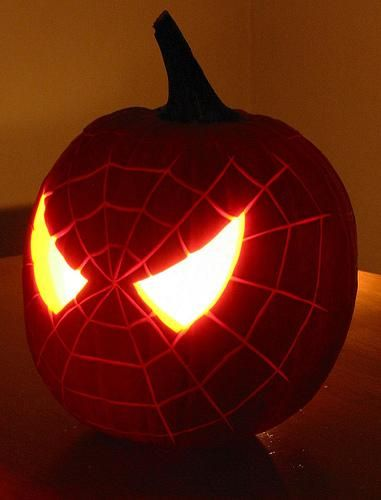 very cool! spiderman carved pumpkin  halloween
