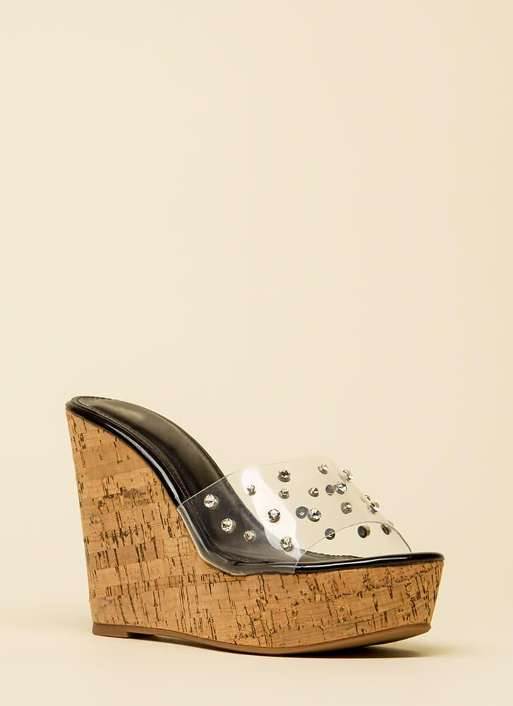 2b74b9453f358b Clearly Perfect Jeweled Mule Wedges BLACK GOLD SILVER - GoJane.com