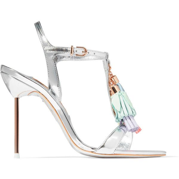 Sophia Webster Layla tasseled mirrored-leather sandals ($655) ❤ liked on Polyvore featuring shoes, sandals, silver, strappy sandals, high heels sandals, shiny shoes, strap sandals and high heeled footwear