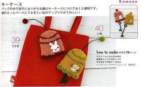 """"""" MOSSITA BELLA PATRONES Y GRÁFICOS CROCHET """": Key Cover, Porta Llaves a Crochet..."""