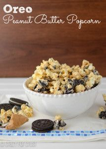 Oreo Peanut Butter Popcorn - I just made this, and it is YUMMY! I just wish I had remembered to remove unpopped kernels first =/: Desserts, Peanuts, Food, Popcorn Snacks, Sweet Tooth, Oreo Popcorn, Movie Nights, Oreo Peanut Butter Popcorn Yum, Popcorn Recipes