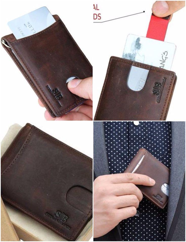 RFID Blocking Bifold Slim Genuine Leather Thin Minimalist Front Pocket Wallet