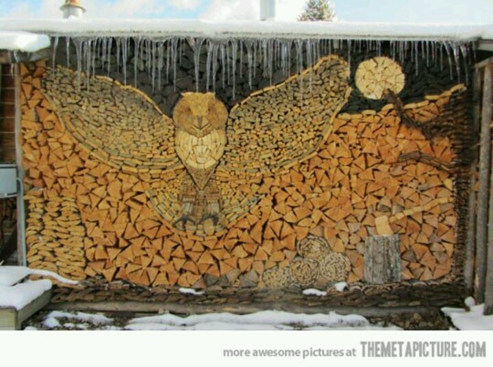 Creative Stacking With Firewood....owl.