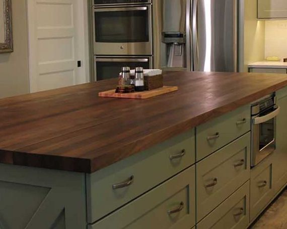 Black walnut kitchen island butcher block counter tops for Top rated kitchen cabinets