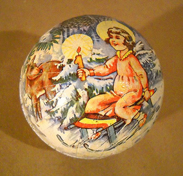 Vintage 1957 CHRISTMAS Paper Mache CANDY CONTAINER Ornament by Superjunk5000 on Etsy