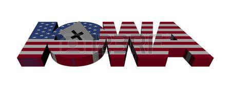 text: Iowa caucus flag text with vote illustration