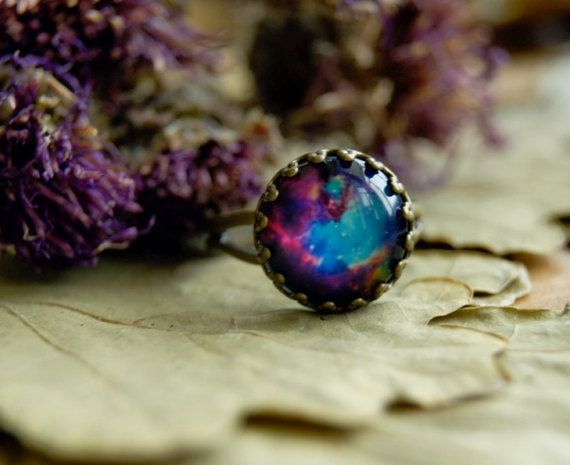 Nebula crown ring Galaxy ring Antique brass by InviolaJewerly