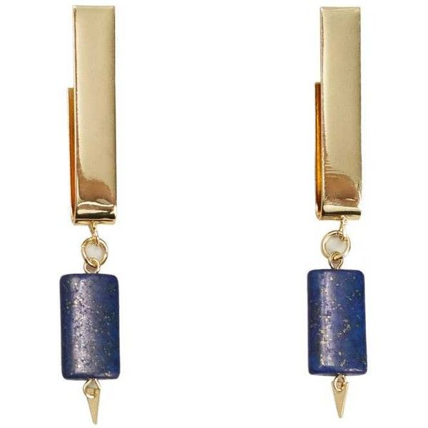 Semiprecious Stone Earring (29 BAM) ❤ liked on Polyvore featuring jewelry, earrings, geometric earrings, semi precious stone earrings, semi precious stone jewellery, earring jewelry and cuff jewelry