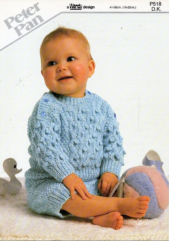 13e1ef2a5 B8449 baby rompers sweater & pants knitting pattern PDF baby romper suit  jumper shorts bobble stitch 16-22 DK light worsted 8ply Instant download  All ...