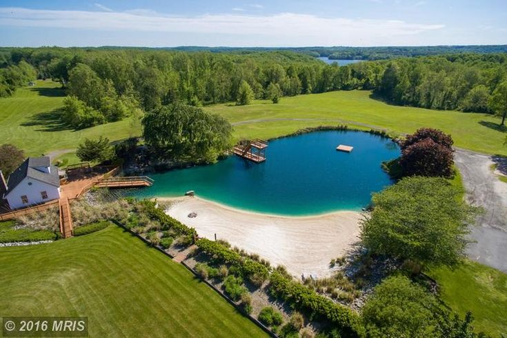 """sand bottomed 1 acre swimming """"pond"""" with beach in MD."""