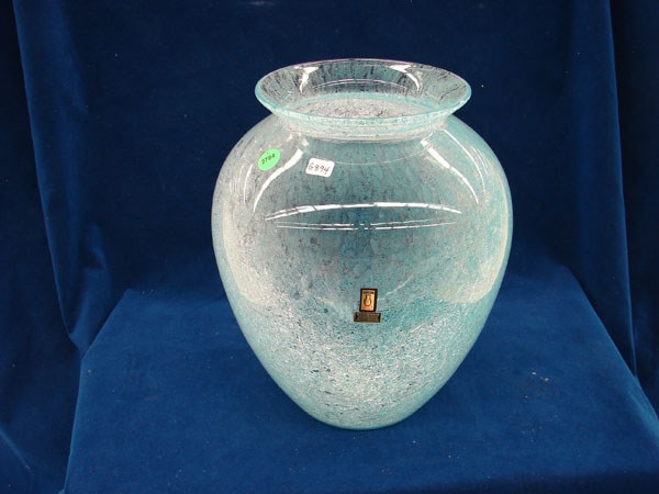Crackle glass vase by Karcag, Hungary hand cut w/