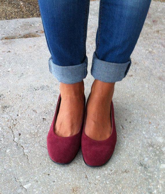 ballet flats rode schoenen vrouwen schoenen / door GrecianSandals