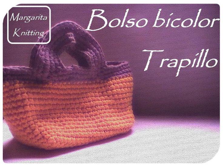Bolso bicolor a trapillo crochet (diestro) - crochet handbag t-shirt yarn