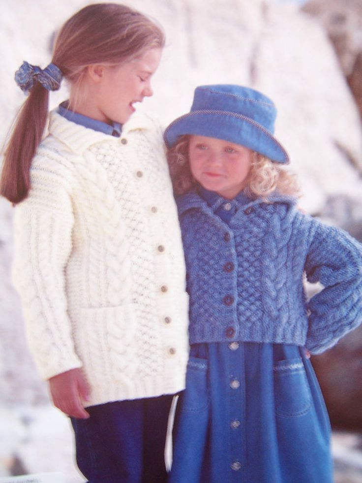 """Knitting Pattern SIRDAR 4045 CHILDS ARAN CABLED LONG/CROPPED CARDIGANS 22-32"""" in Crafts, Knitting, Patterns 