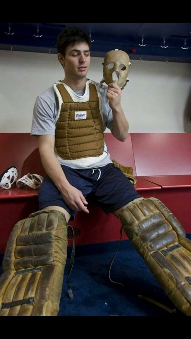 Carey Price in Jacque Plante's old equipment