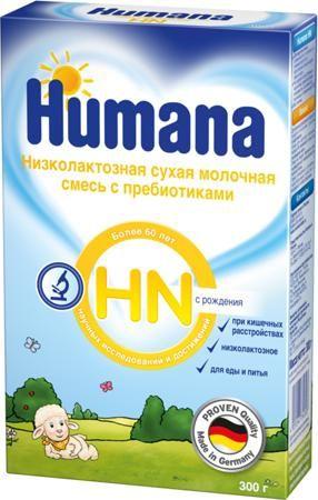Humana HN (с рождения) 300 г  — 709р. -------------------------- Молочная смесь Humana HN с пребиотиками с рождения 300 г. - специализированный продукт для диетического (лечебного) питания детей с рождения и старше, а также взрослых при кишечных расстройствах в острой стадии и в период восстановления, а также при нарушениях пищеварения различного генеза. Humana HN с пребиотиками при необходимости может длительно применяться как единственное питание или в составе диеты в виде смеси и каши…