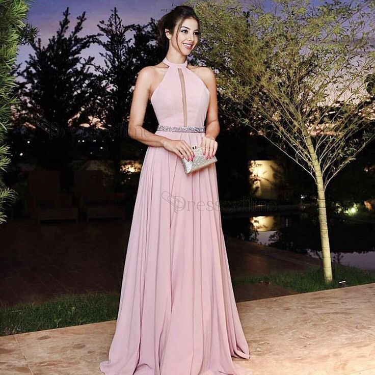 A-Line Jewel Floor-Length Pink Satin Prom Dress with Beading Pleats