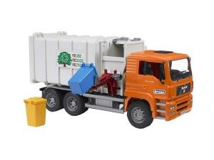 Bruder Toys Man Side Loading Garbage Truck Orange  The arm extends from the truck's side and grabs the garbage can. The can is dragged over to the very side of the truck, then lifted and tilted over the opening.  http://bit.ly/1ECAVOd