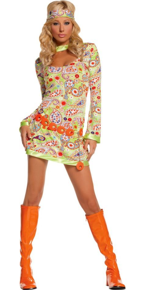 Adult Groovy Chick Hippie Costume - 60s Costumes - Womens ...