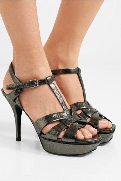 f5f616e0989 SAINT LAURENT fabulous Tribute metallic cracked-leather platform sandals