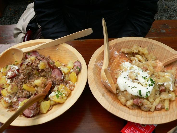 Valašský kontrabáš and Halušky in Valachian Museum in Rožnov