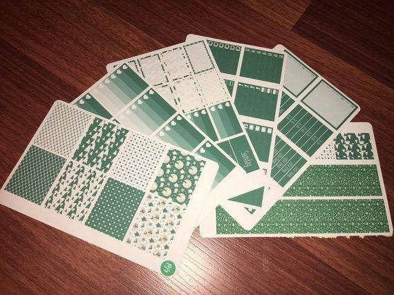 Green Christmas Weekly Sticker Kit  Erin by PlannerJunkieSticker