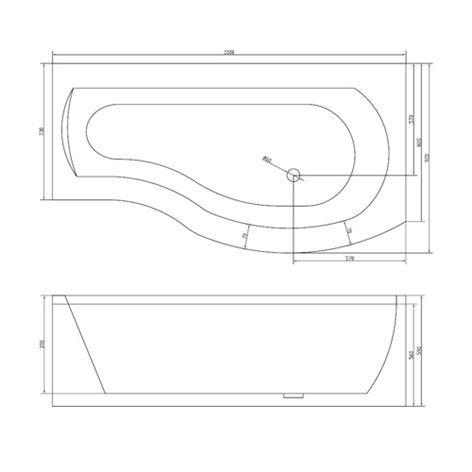 Badekar Bathlife Ideal Comfort med Dusjvegg Form - Badekar - Baderom