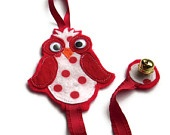 RED Owl Felt Bow and Clippie/ Barette Holder Keeper with Ribbon