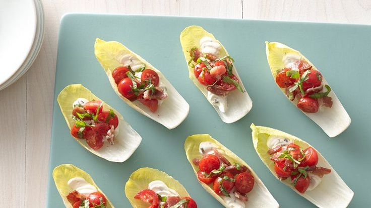 These little salad bites are easy to eat and look great when arranged on a platter. Make them vegetarian by leaving out the bacon.