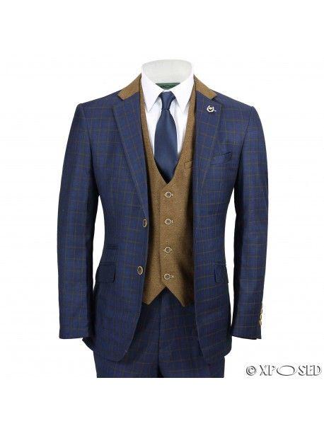 Mens 3 Piece Suit Vintage Windowpane Check Navy Blue Smart Tailored Fit UK Size