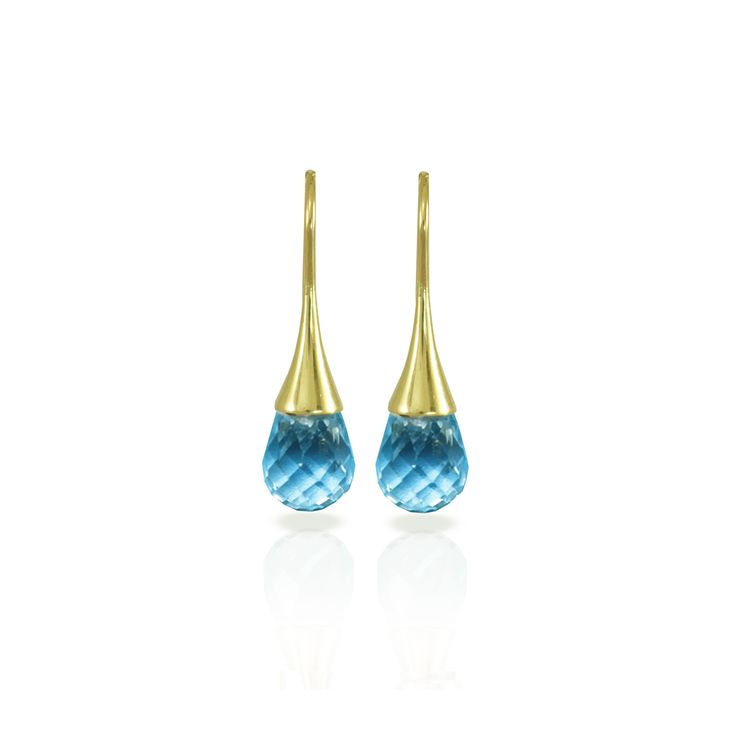 Make a Splash with these Swiss Blue Topaz Drop Earrings  Beautiful Swiss Blue Topaz that literally drops from a golden fluted faucet? That's what dreams are made of. A dream that Scarab Jewellery Studio has made come true. Wear these and you will make a splash at any gala event, or even at the Mall. Yes, you do need a pair of swiss blue topaz drop earrings. Have you seen the Citrine Drop Earrings? You'll love them too! When it rains, it pours…