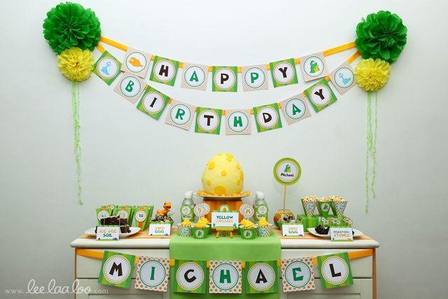 Dinosaur Birthday Party Dessert Table #dinosaur #party