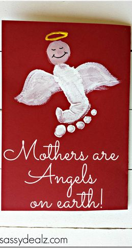 """Mothers are Angels on Earth"" Footprint #MothersDay Card (repinned by Super Simple Songs) #preschool #kidscrafts"