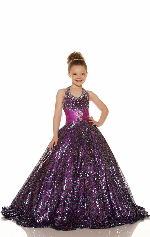 2015 Cheap Gold Purple Flower Girl Dress Beaded Halter ...