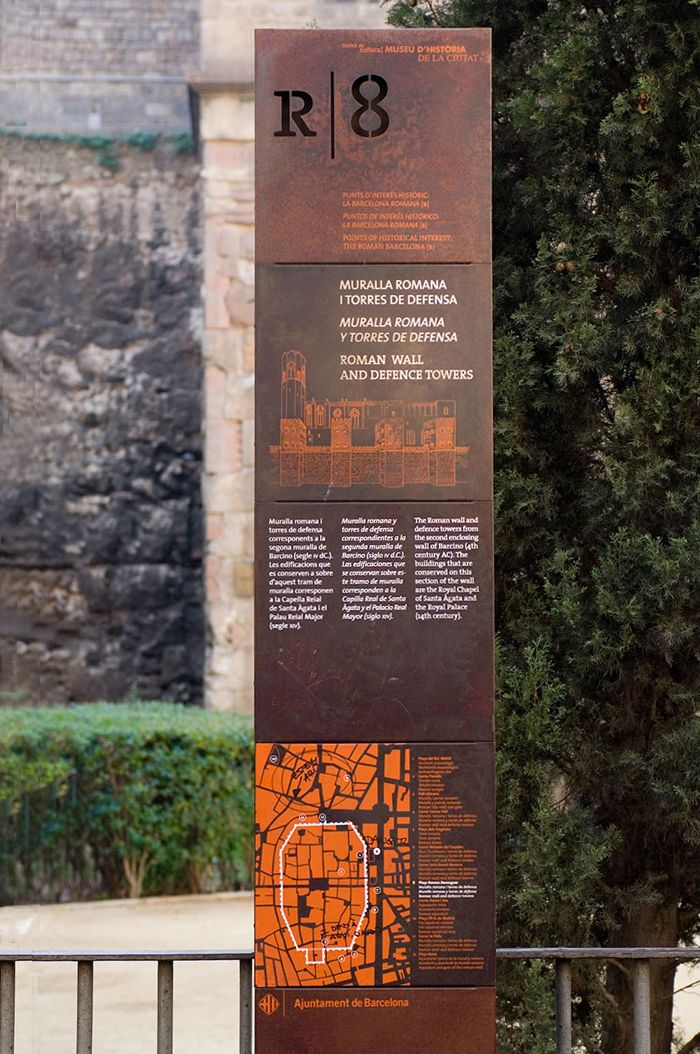 Corten street sign | points of interest in Roman Barcelona