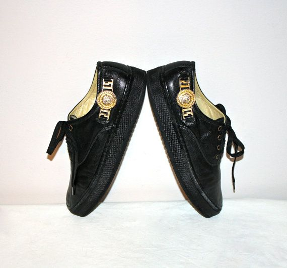 Vintage GIANNI VERSACE Sneakers Black Leather by StatedStyle, $275.00