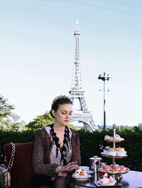Tea time in Paris. Gossip Girl's Blair Waldorf aka Leighton Meester.