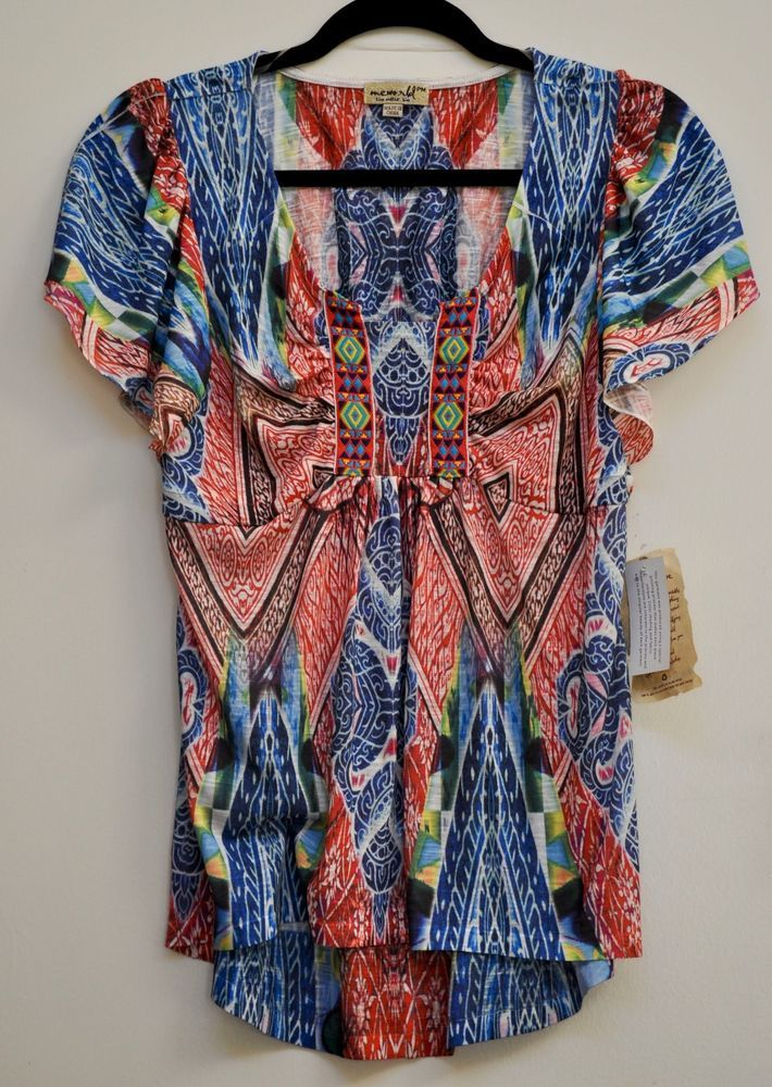 One World Women Blouse Multi-Color Cap Sleeve Petite size M NWT #OneWorld #Blouse #Casual