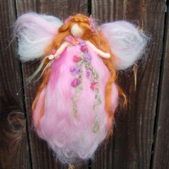 Wool Angel  Needle felted Pink Garden Fairy Waldorf by Nushkie